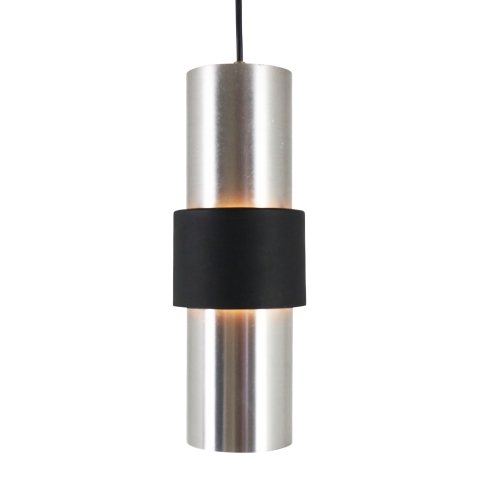 Aluminium and black metal B-1198 pendant light by Raak Amsterdam, 1960s