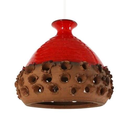 Perforated orange / red ceramic pendant lamp, 1970s