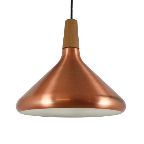 Vintage pendant light in copper and wood, 1970s
